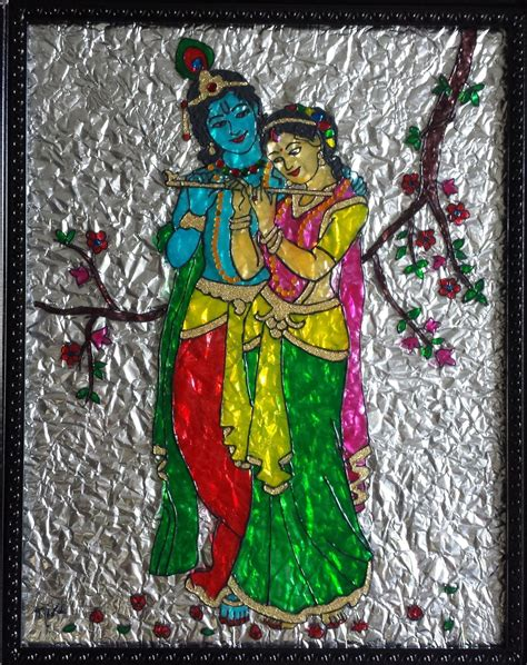 Glass Painting Krishna Outline by Glass Paintings