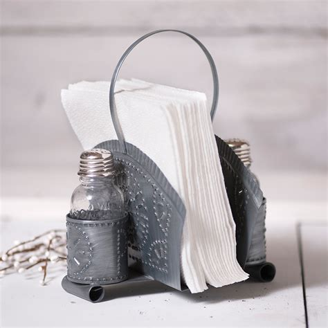 napkin  shaker holder  antique tin irvins tinware