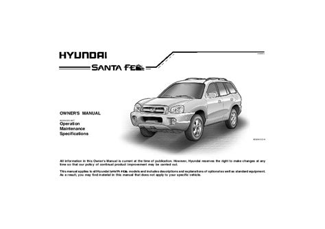 online car repair manuals free 2006 hyundai santa fe user handbook 2005 hyundai santa fe owners manual