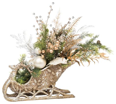 Holiday Sleigh Centerpiece   Traditional   Artificial Flower Arrangements   by Petals