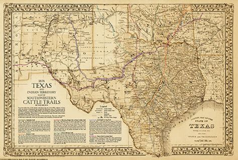 texas cattle trails map 1876 great texas southwestern cattle trails map