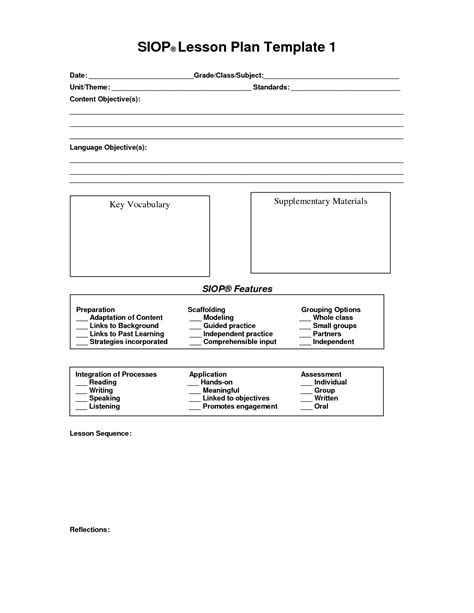 siop lesson plan templates siop lesson plan template lisamaurodesign