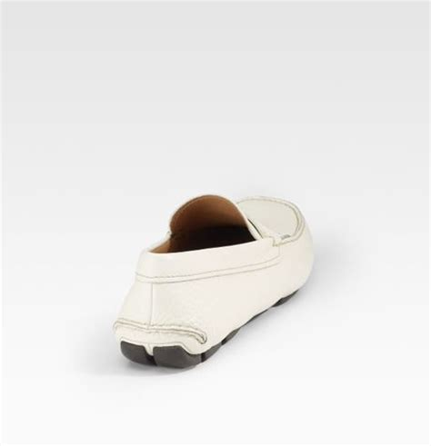 white prada loafers prada logo loafers in white for lyst