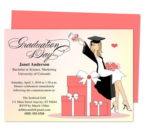 free graduation invitation templates for word luxury graduation announcement or