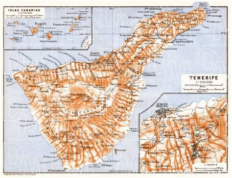 printable map tenerife old map of the canary islands and tenerife in 1911 buy