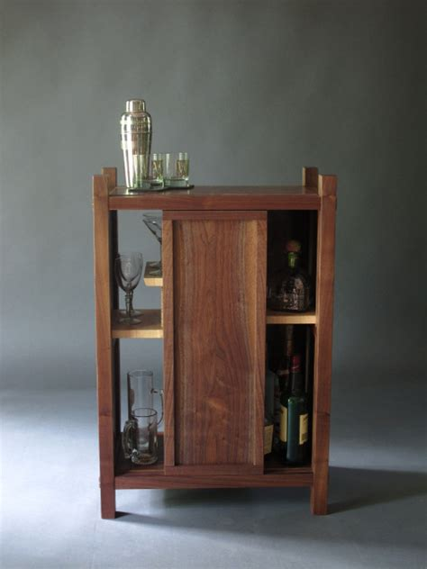 Wine And Liquor Cabinets Solid Wood Bar Cabinet With Mid Century Modern Style