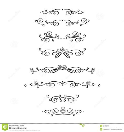 vector decorative design elements page decor vector set of calligraphic design elements page stock