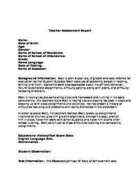 woodcock johnson iii sle report template report for woodcock johnson iii iep