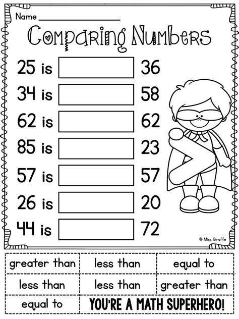 printable comparing numbers games first grade math unit 11 comparing numbers skip counting