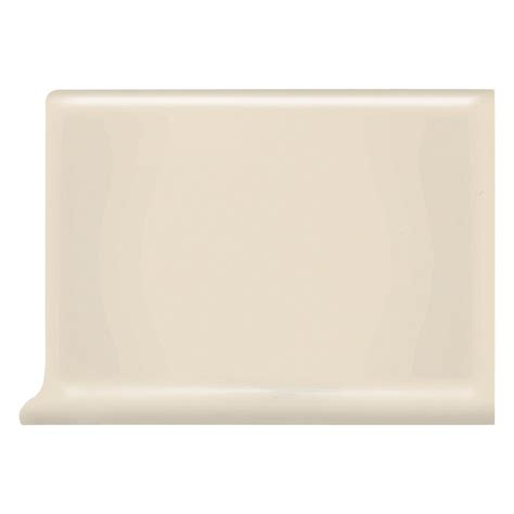 shop american olean bright gloss almond ceramic cove base tile common 4 in x 6 in actual 4