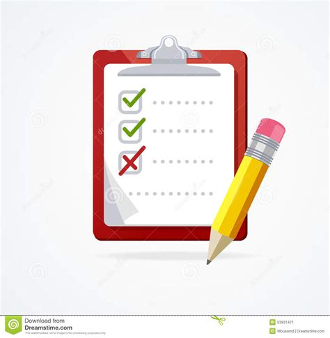vector board layout vector checklist on a red board flat design stock vector