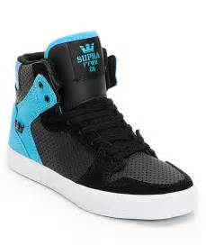 kid high top shoes supra vaider black turquoise perforated high top