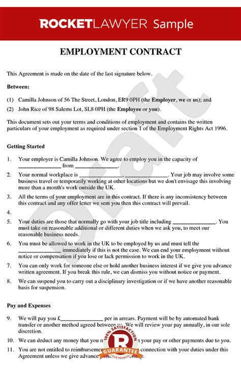 employment contract template contract of employment