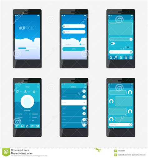 Template Mobile Application Interface Design Stock Vector Illustration Of Phone Mockup 59588861 Application Ui Templates