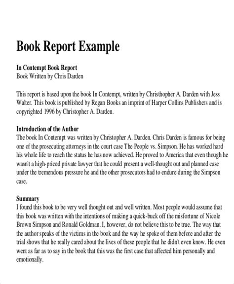 book report for 10 sle book report free sle exle format