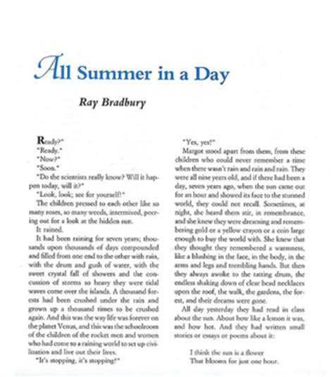 day stories all summer in a day by bradbury reviews discussion