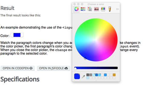 input type color html hypertext markup language mdn