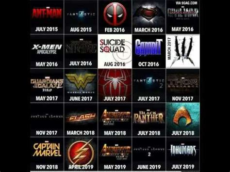 marvel film list upcoming upcoming movies from dc and marvel youtube