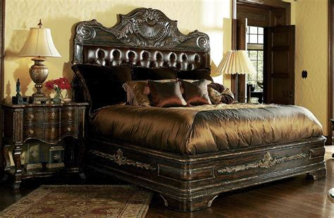 high  master bedroom set carvings  tufted leather headboard