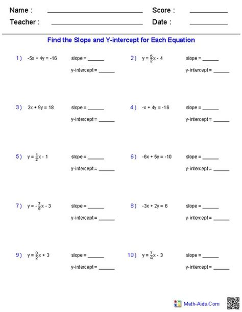 Slope And Y Intercept Worksheet by Math Slope Worksheets Pre Algebra Worksheets Linear