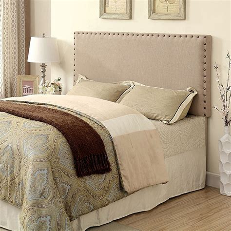 fabric headboard with nailhead trim herstal collection twin ivory fabric headboard w nailhead