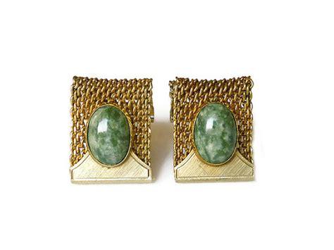 anson cufflinks jade agate mesh weave gold tone by