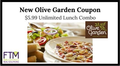 Current Olive Garden Specials by Olive Garden Coupon Unlimited Lunch Combo For Only 5 99