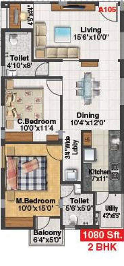 serenity floor plan 1080 sq ft 2 bhk 2t apartment for sale in aakruthi developers serenity singaperumal koil chennai