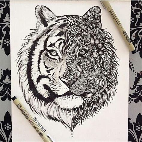 pattern drawing lion tiger doodle drawing ideas pinterest tigers