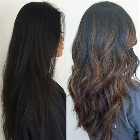 highlight colors for black hair before after subtle brown balayage highlights on black