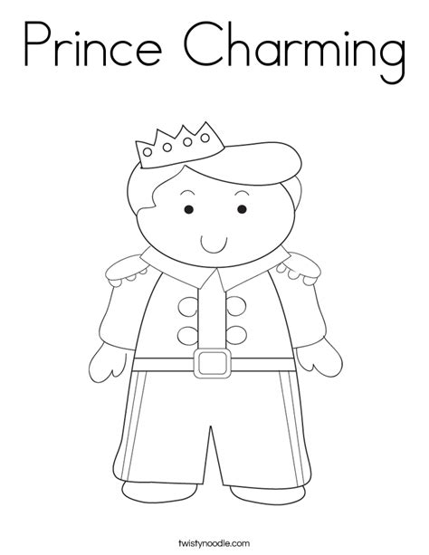 prince charming coloring page twisty noodle