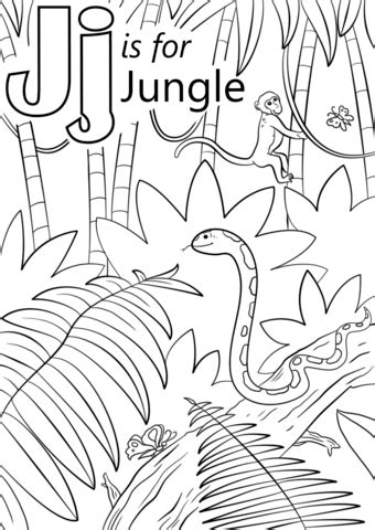 coloring book jungle background letter j is for jungle coloring page free printable