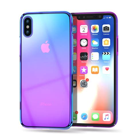 luxury plating for iphone x xs max 10 business gradient purple ultra thin smooth