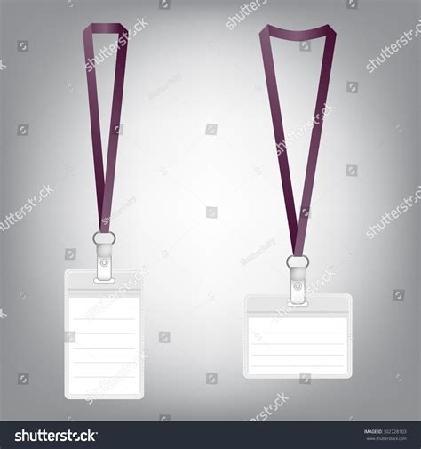 Lanyard Name Tag Holder Badge Templates Stock Vector 302728103 Shutterstock Lanyard Name Badge Template