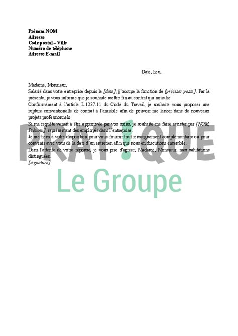 Modeles De Lettre De Rupture Conventionnelle Gratuite Lettre De Demande De Rupture Conventionnelle Du Contrat De Travail Pratique Fr