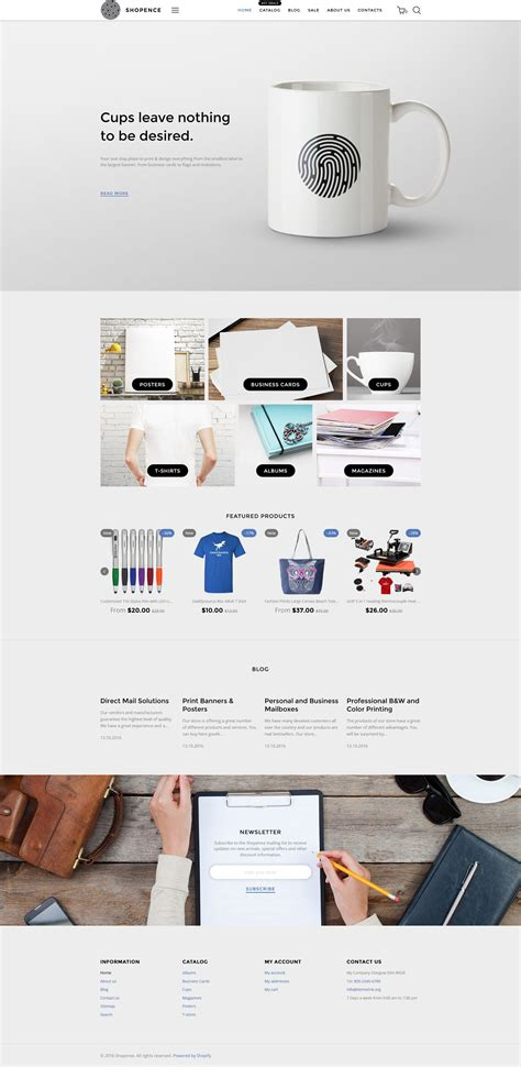 Shopence Printing Shop Printing Company Shopify Theme Website And Responsive Design Printing Ecommerce Website Template