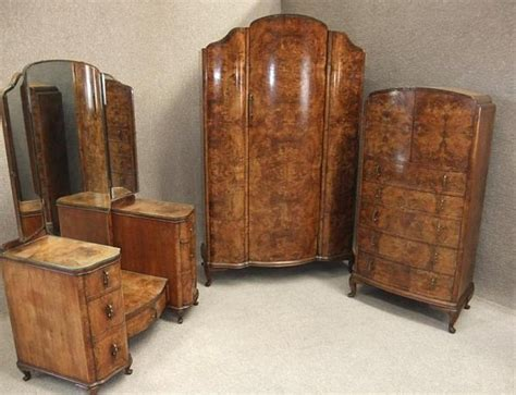 1930s Wardrobe by Burr Walnut Deco Bedroom Suite