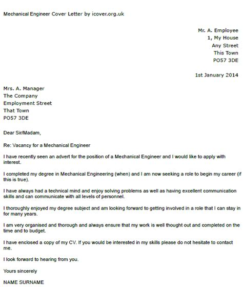mechanical engineer cover letter icoverorguk