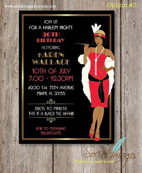 Harlem Nights Birthday Party Invitation Digital File Nights Invitation Template