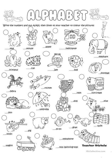 printable animal articles alphabet a or an worksheet free esl printable