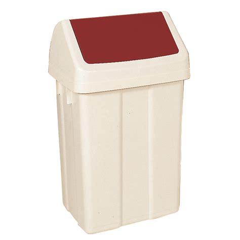plastic swing bins plastic swing top bin 50 litre white with red lid 330352