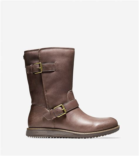 moto boot cole haan moto grand waterproof boot in chestnut