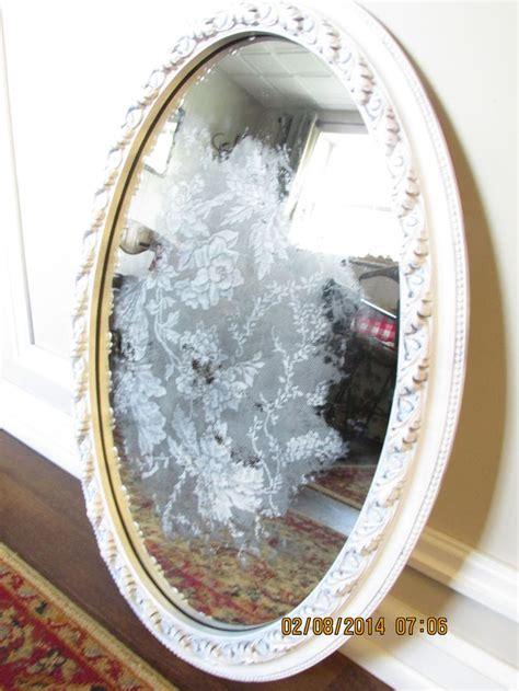 Decoupage Mirrors - back decoupaged lace mirror sold vintage nouveau