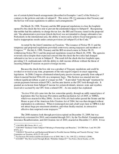 regulations section 301 7701 3 exhibit 1a subcommittee memo on offshore profit shifting apple