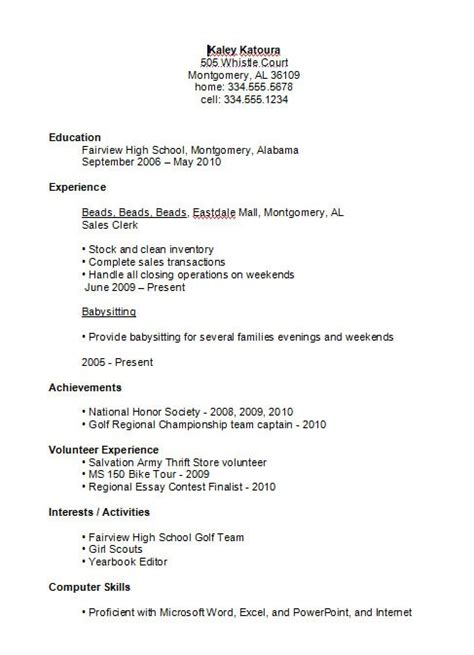 Resume For A Highschool Student by Sle Resumes For High School Students