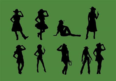 cowgirl silhouette vector free download two beautiful cowgirl silhouette vector set download free vector art