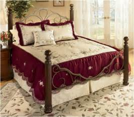 Burgundy Comforter Set With Matching Curtains 4 Pc Burgundy Jacquard W Ribbon Embroiderey