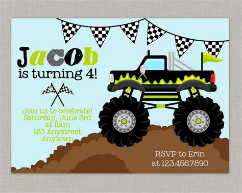 Free Printable Monster Truck Birthday Invitations Dolanpedia Invitations Template Jam Paper Templates