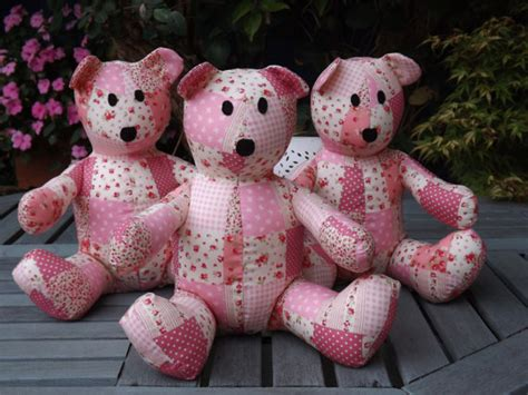 Handmade Teddy Patterns - pink patchwork teddy handmade by claresquiltsnsofttoy