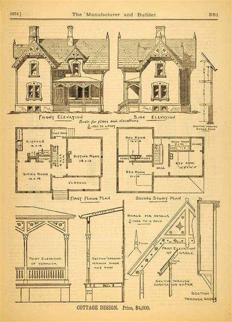1873 print house home architectural design floor plans 1873 print cottage architectural design floor plans